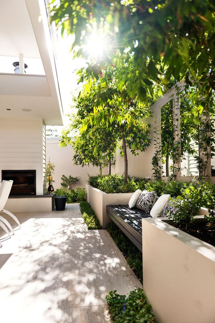 wooden bench with throw pillows, small backyard ideas, planted trees and bushes, sun shining through the trees