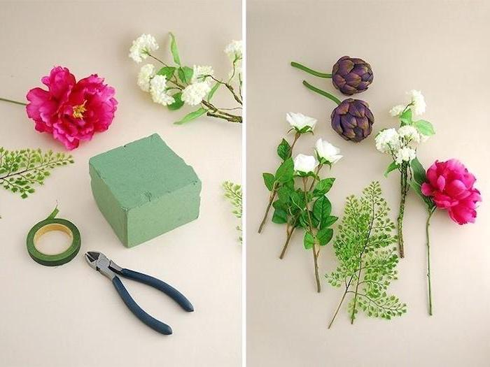 diy tutorial, step by step, colourful flowers, on a white countertop, kitchen table centerpieces