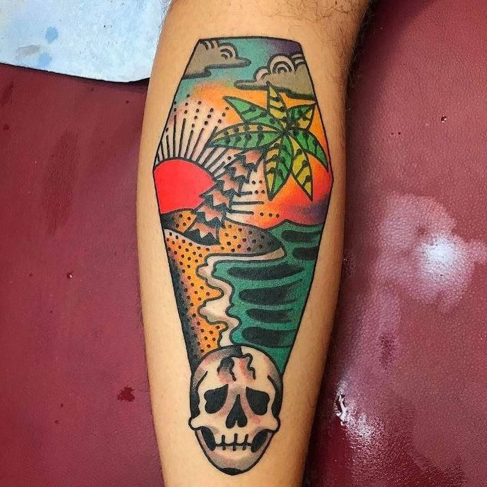 coffin shaped, colourful leg tattoo, island landscape and skull, upper arm tattoos, red background