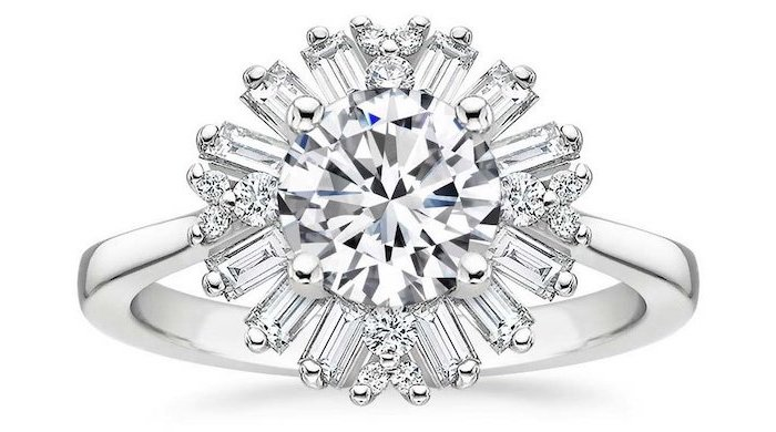 sun shaped diamonds, large round diamond in the middle, diamond band engagement rings