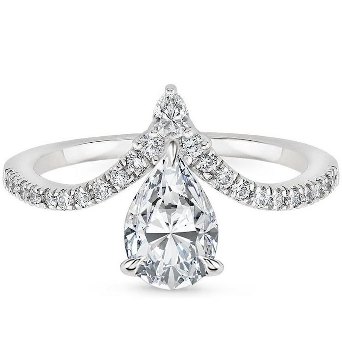 diamond band engagement rings, teardrop shaped diamond, diamond studded band