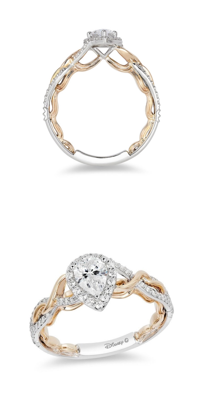 gold and white gold mix, engagement rings for women, rapunzel disney princess inspired ring