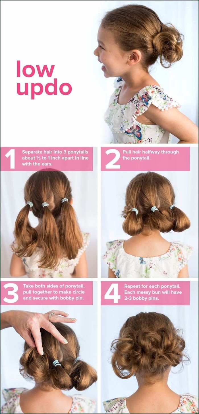floral top, easy braid hairstyles, three low ponytails, tied in buns, white background