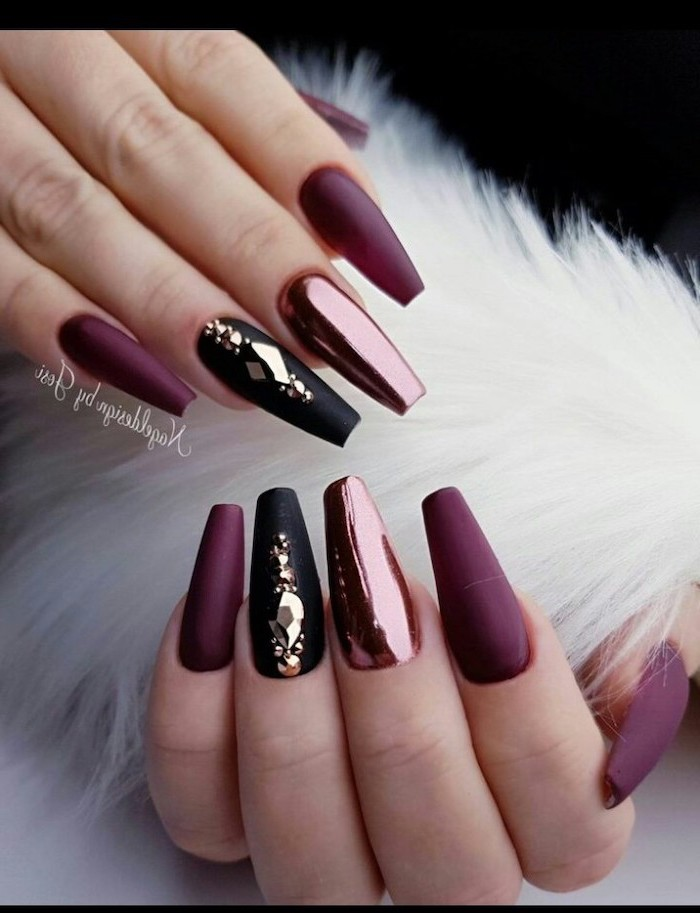 burgundy matte nail polish, trending nail colors, black matte nails with rhinestones, long coffin nails