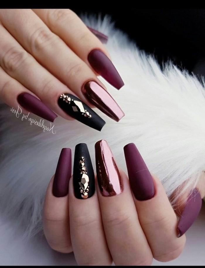 burgundy matte nail polish, trending nail colors, black matte nails with rhinestones, long coffin nails