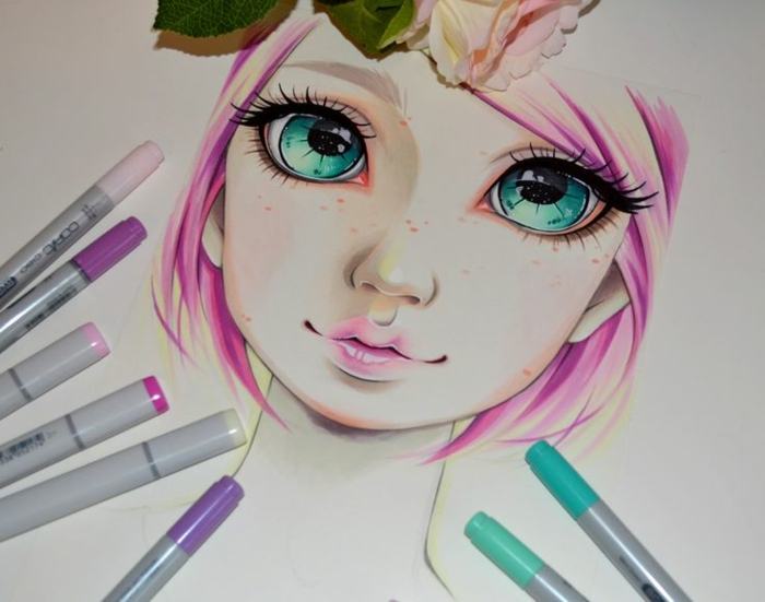 large turquoise eyes, drawing of a girl's face, pink hair and lips, how to draw a girl step by step