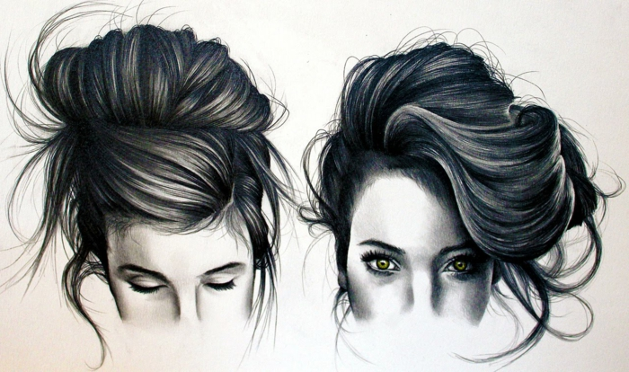 black and white drawings of girls, side by side drawings, girl with a messy bun, green eyes