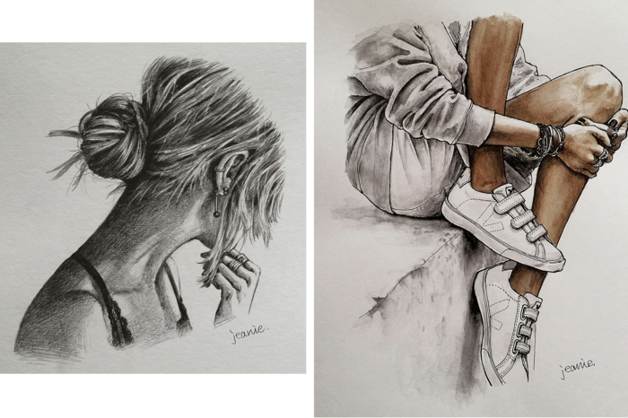 side by side drawings, hair in a bun, girl with white sneakers, black and white drawings of girls