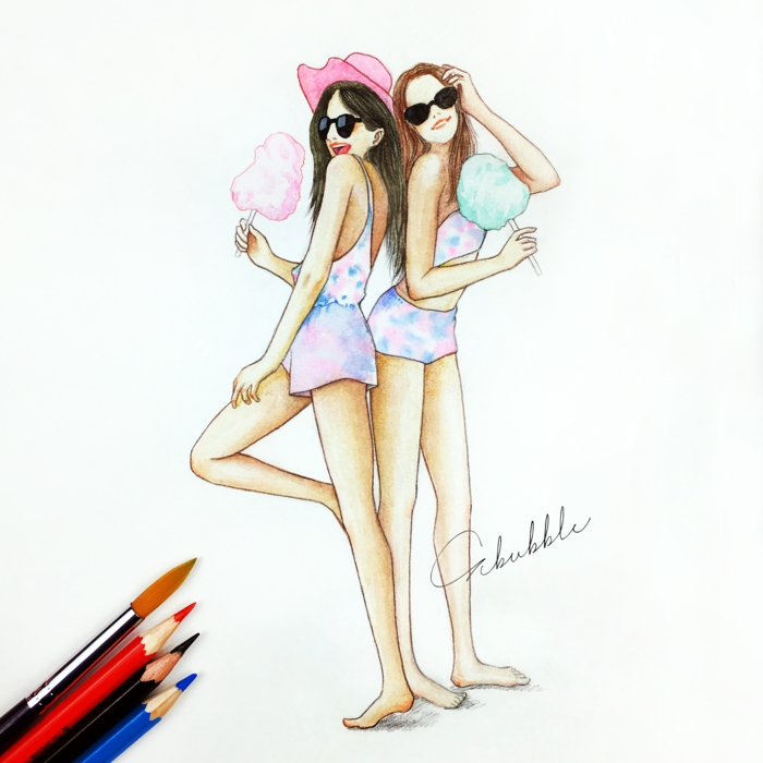 drawing of two girls, black and white drawings of girls, holding cotton candies, wearing colourful onesies