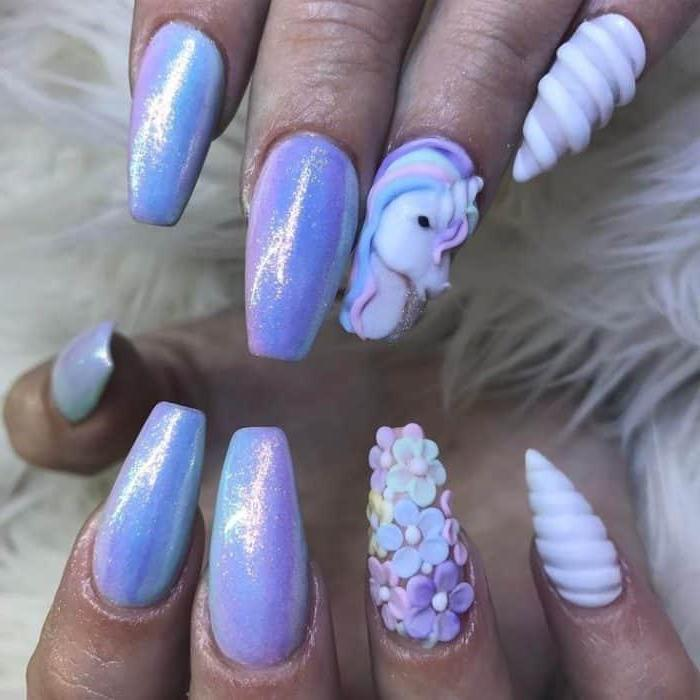 unicorn manicure, purple chrome nail polish, 3d manicure, manicure ideas, long coffin nails