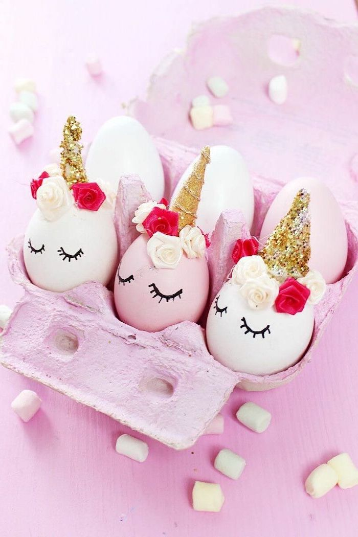 pink egg carton, unicorn eggs inside, how to decorate easter eggs, gold horns, floral crowns, glued on eggs