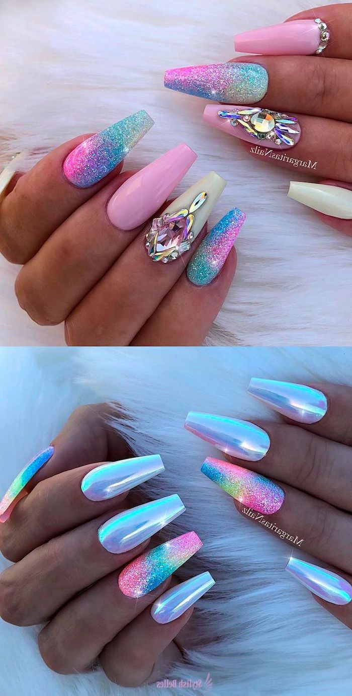 unicorn manicure, cute nail designs, colourful nail polishes, chrome nail polish, two different types of manicure