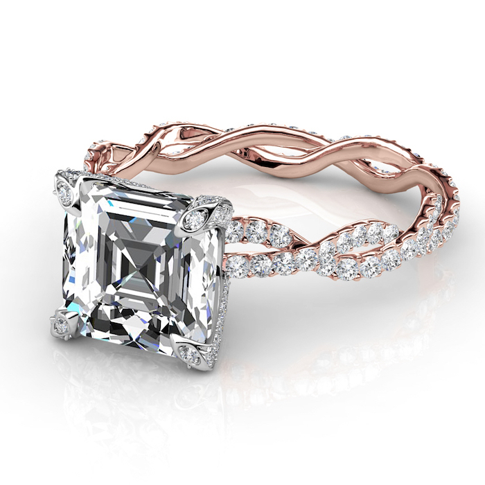 square cut large diamond, square cut engagement rings, diamond studded rose gold band