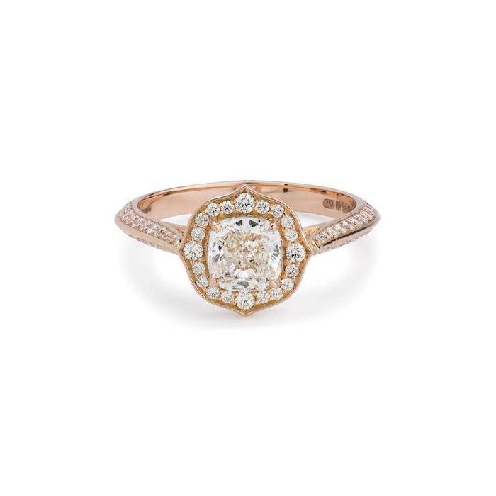 square diamond engagement rings, rose gold diamond studded band, large square cut diamond