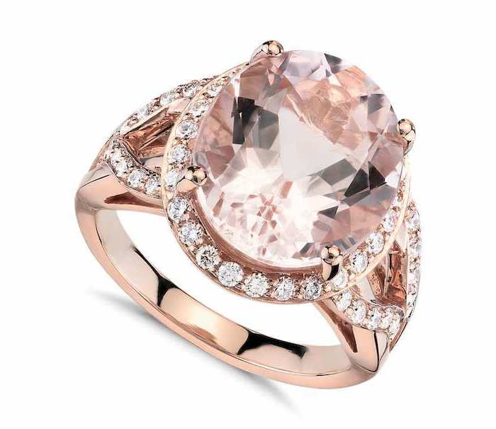 large morganite stone, rose gold band, double band engagement rings, white background