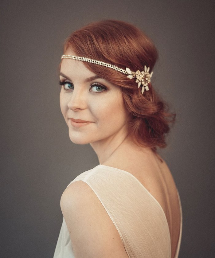 20s inspired, gatsby style, short wavy red hair, flower headband, wedding hairstyles, white dress