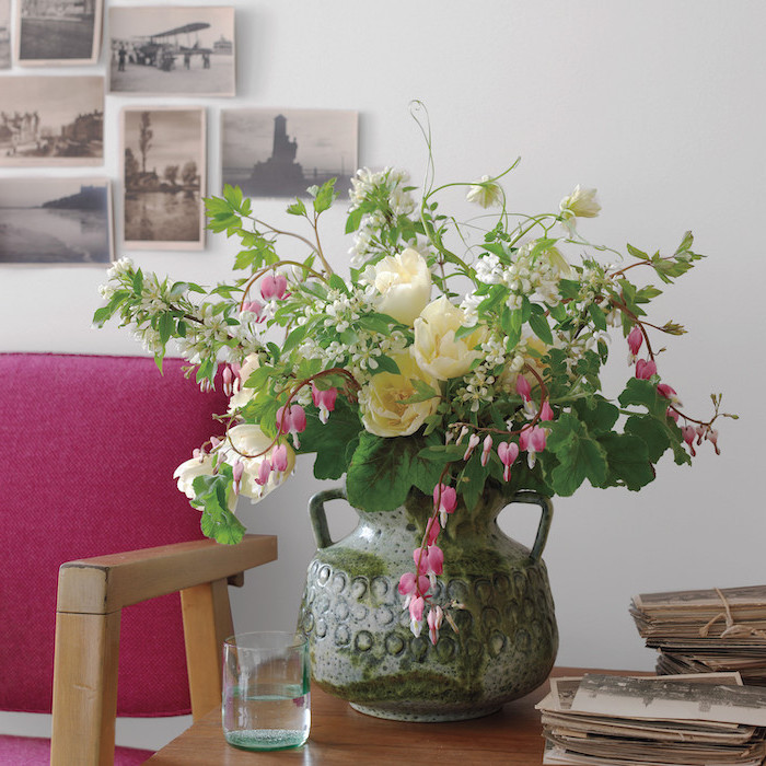 large vintage vase, pink and white flowers, small flower bouquet, flower arrangement pictures, on a wooden table
