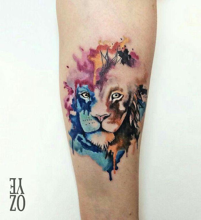 leg tattoo, watercolour lion head, tattoo ideas for men, white background