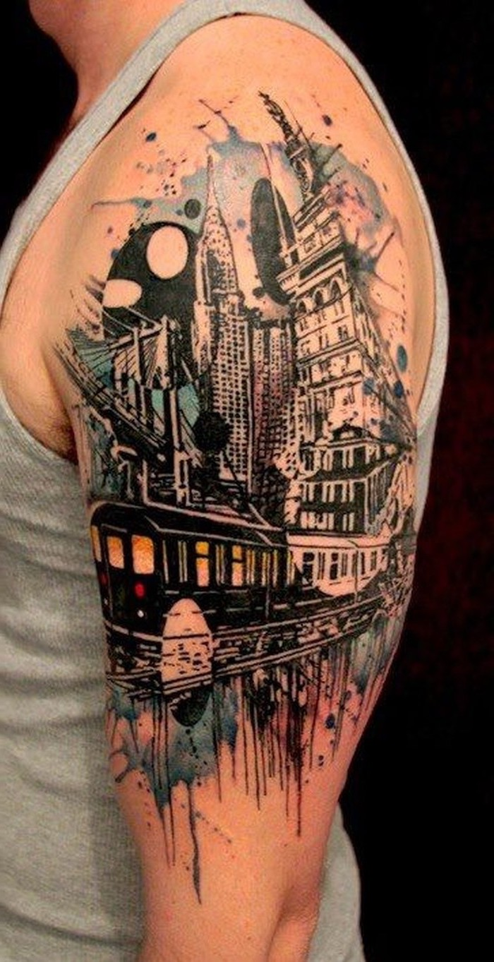 new york skyline, crysler building, shoulder watercolour tattoo, small meaningful tattoos, black background