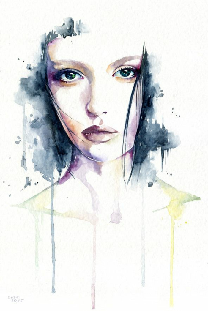 watercolour painting, of a girl's face, black and white drawings of girls, white background