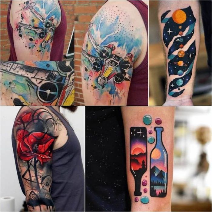 side by side pictures, watercolour tattoos, colourful designs, tattoo ideas with meaning