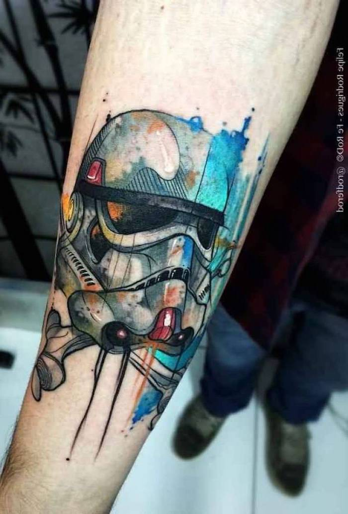 storm trooper, watercolour forearm tattoo, tattoo ideas with meaning, man wearing jeans