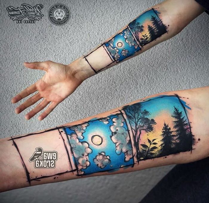 windows view, watercolour forearm tattoo, forest landscape, blue sky, tattoo ideas with meaning