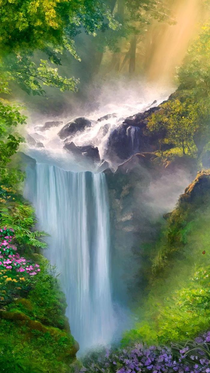 painting of a waterfall, surrounded by greenery, spring pictures, phone wallpaper, lots of flowers and trees