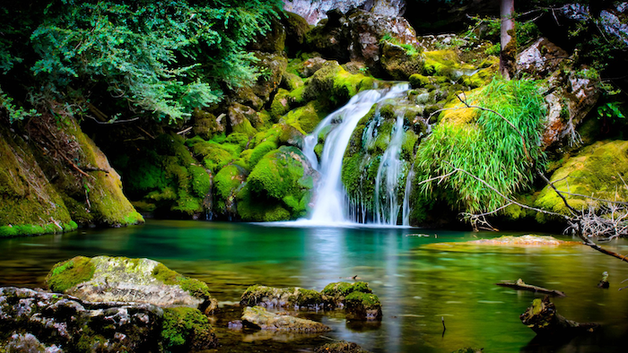small waterfall, spring desktop background, rocks covered in moss, trees along the small river