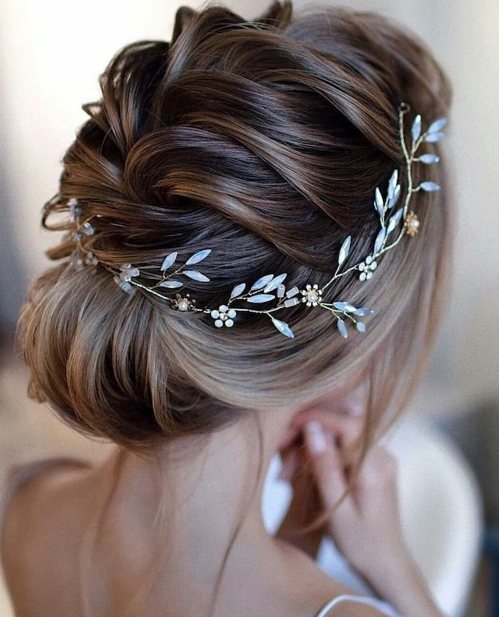 small headband with crystals, braided brown hair, in a low . updo, easy to do hairstyles