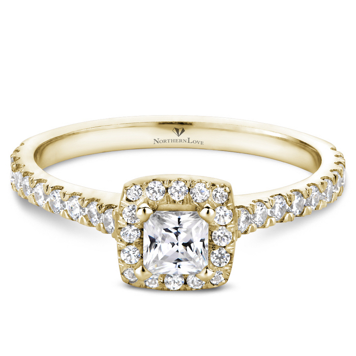 square cut diamond, engagement rings for couples, golden diamond studded band