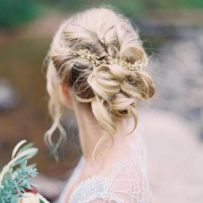 white lace dress, blonde hair in a low updo, small pearl headband, easy to do hairstyles
