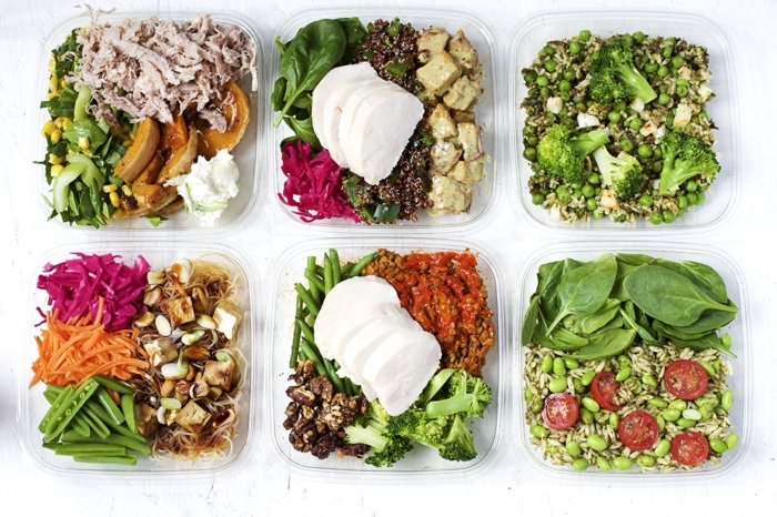 lunch boxes, full of vegetables and meat, meal prep, healthy meal plans for women, different meals for wach day
