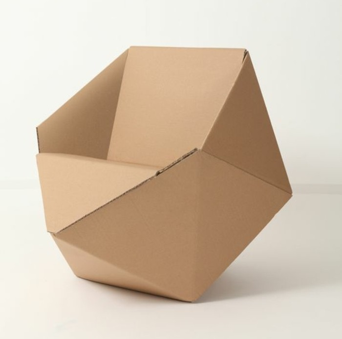 minimalist design, cardboard armchair, how to make a cardboard chair, in front of a white background