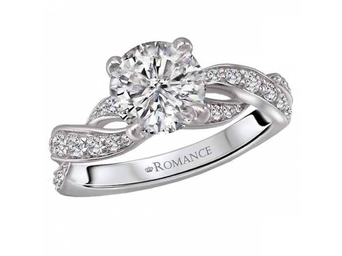 round diamond in the middle, white gold diamond studded band, square diamond engagement rings
