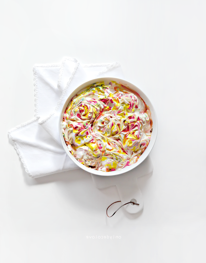 white bowl, full of whipped cream, colourful dye, waster egg decorating, diy tutorial