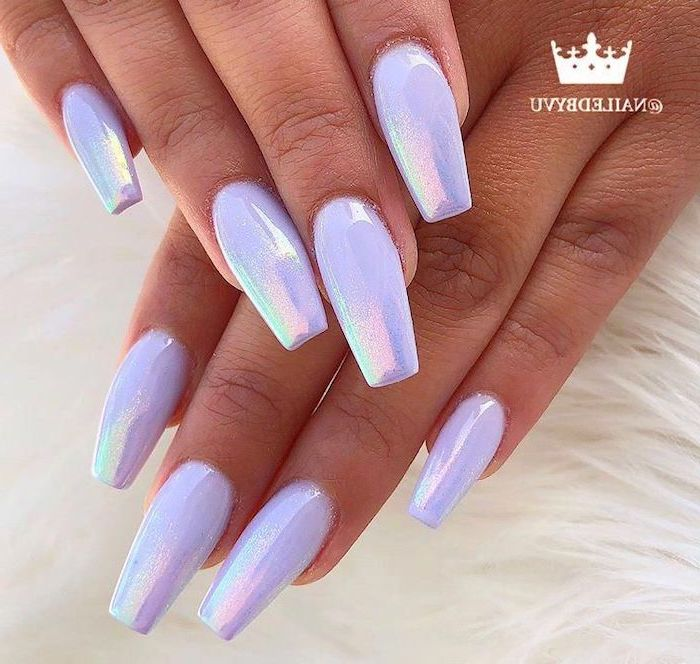 white chrome nail polish, manicure ideas, long coffin nails, both hands photographed