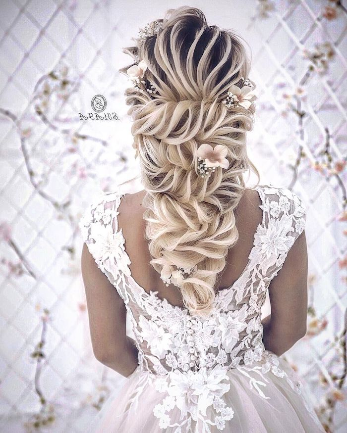 white lace dress, loose updos, braided ponytail, long blonde hair, flowers in the hair