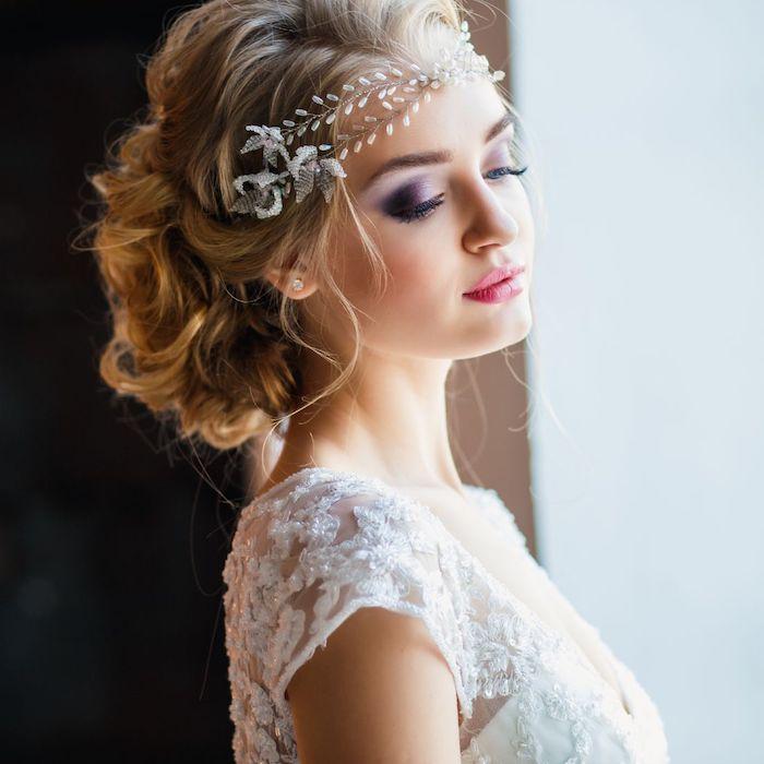 purple eyeshadow, easy wedding hairstyles, blonde hair in a low updo, large headband
