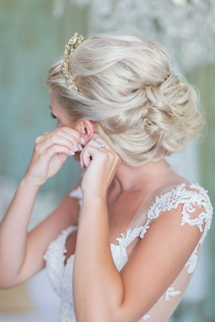 white lace dress, platinum blonde hair in a low updo, golden tiara, bridesmaid hairstyles