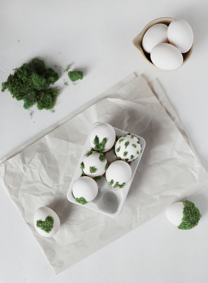 white eggs, white paper, green moss, step by step, diy tutorial, dying eggs with food coloring