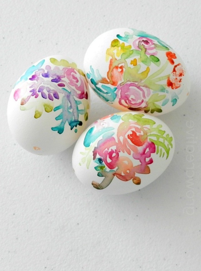 floral eggs, watercolour design, white background, how to color eggs, colourful dye