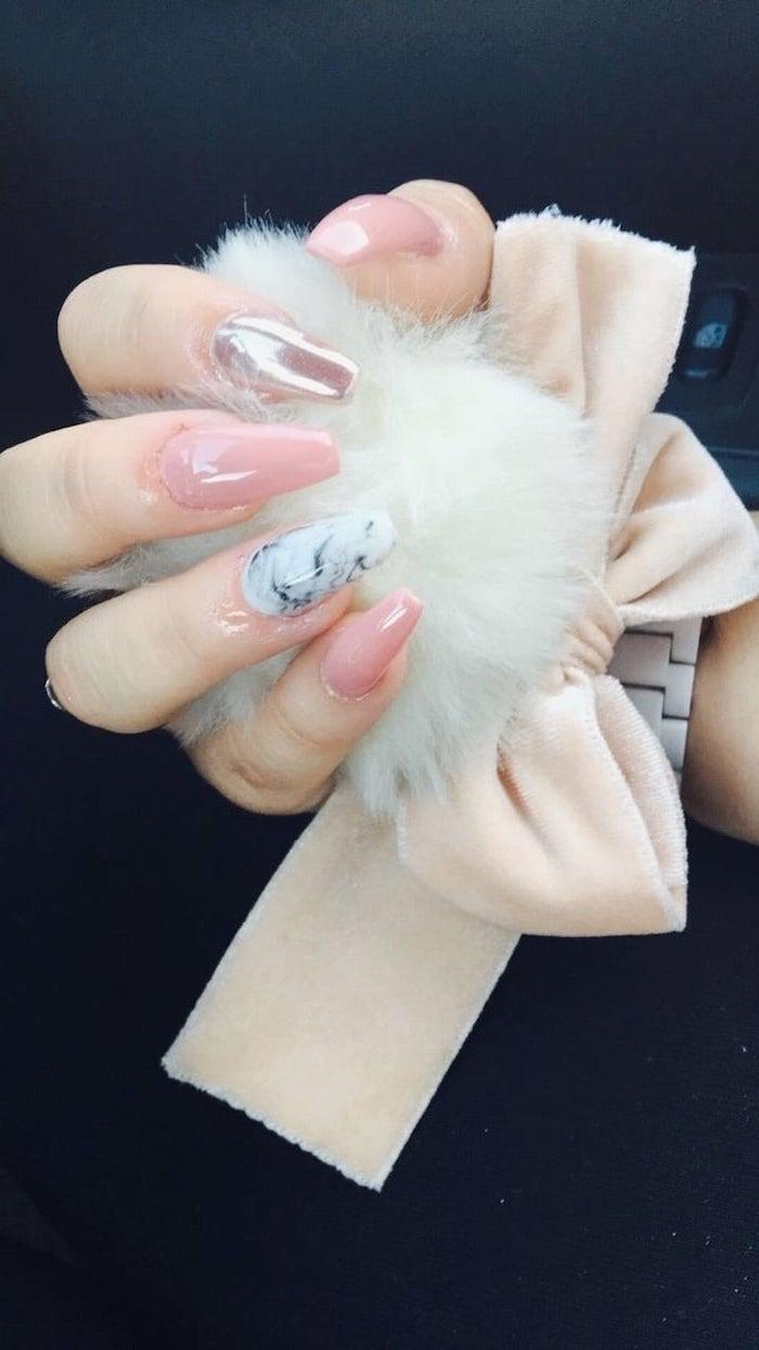 pink nail polish, chrome nail polish, manicure ideas, black and white marble nail, long coffin nails
