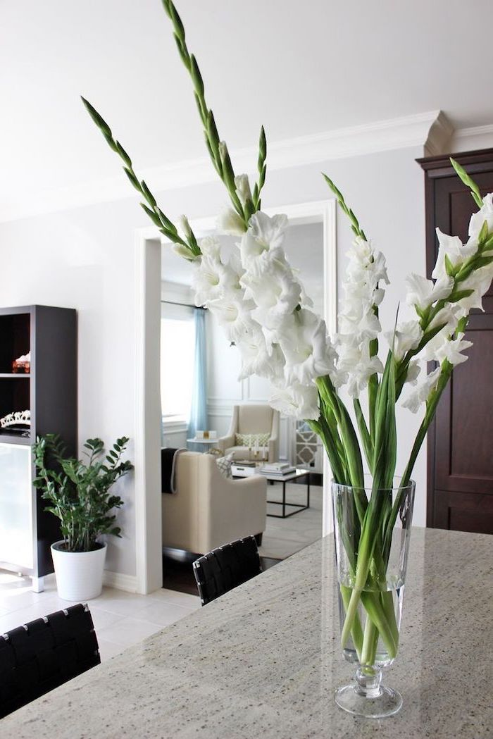 flower arrangements ideas, white gladiolus flowers, in a tall round glass vase, on a granite countertop