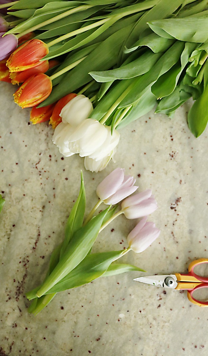 large bouquet of tulips, easter decorating ideas, a pair of scissors, on a granite countertop