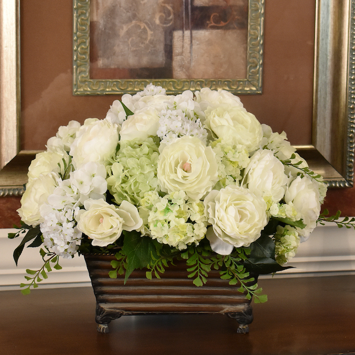 white peonies, large flower bouquet, in a vintage vase, silk flower arrangements, on a wooden table