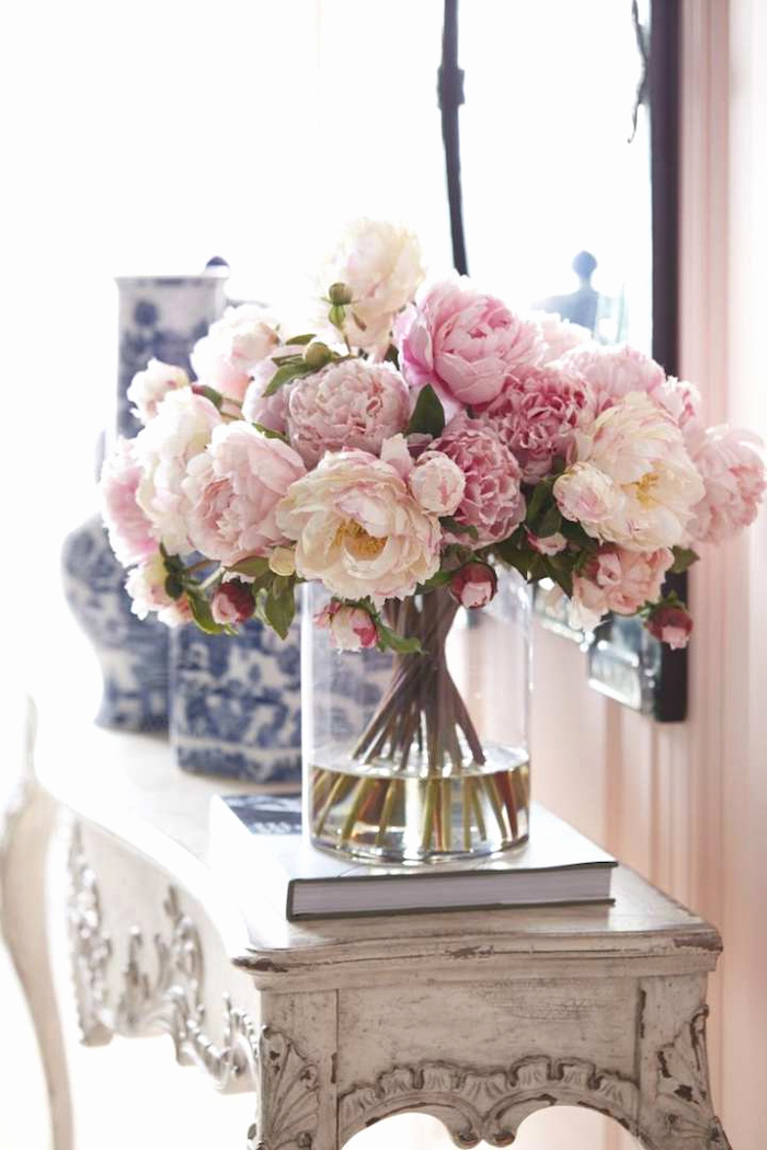 pink and white peonies, large flower bouquet, on a vintage wooden table, mason jar flower arrangements, rustic style