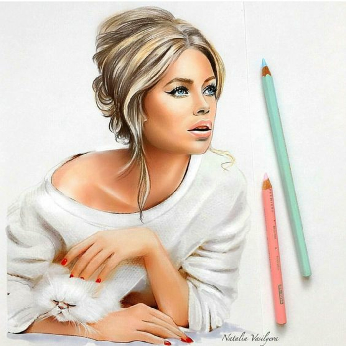 drawing of a girl, holding a cat, blonde hair in a bun, how to draw a girl easy, white sweater