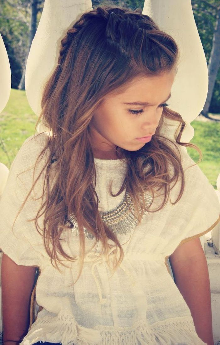 long brown wavy hair, little girl hairstyles, french braid on top of the head, white boho blouse