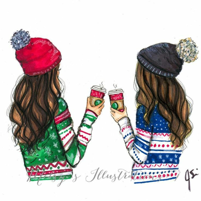two girls, wearing christmas sweaters, holding starbucks cups, cute drawings, girls wearing winter hats